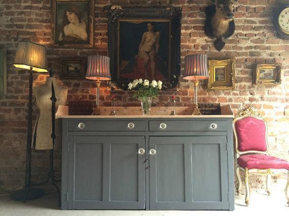 Antique Grey Pine Dresser 19th Century