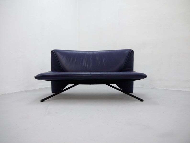 Fantastic Vintage Purple Leather Sofa Loveseat Postmodern 1980S Design Pdpeps Interior Chair Design Pdpepsorg