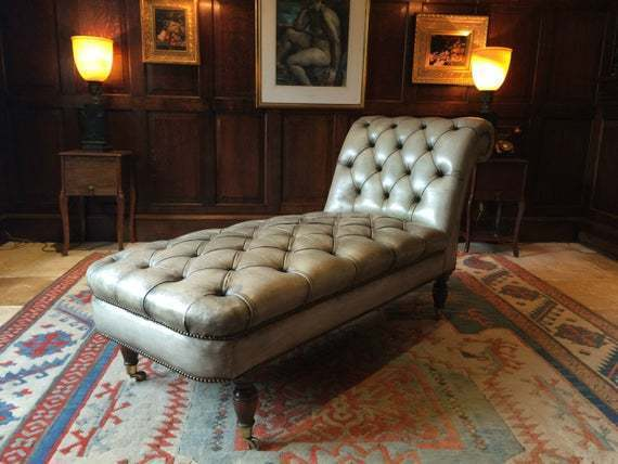 Antique Style Chesterfield Chaise Longue Leather Button Back Grey Green
