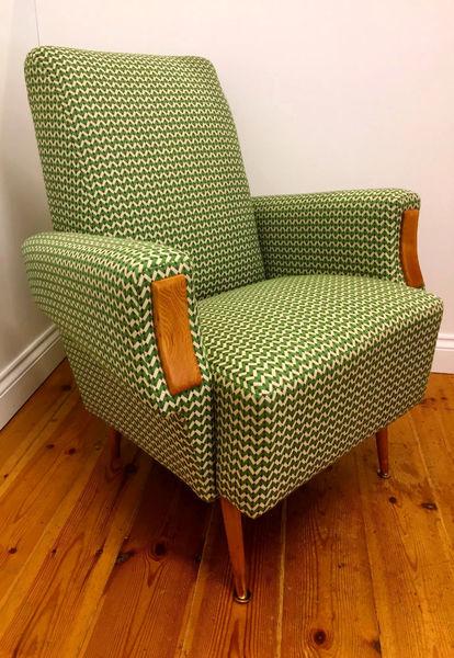 Scandinavian Vintage Mid Century Modern Armchair With Striking Geometric Upholstery And Unusual Ash Arm Facings