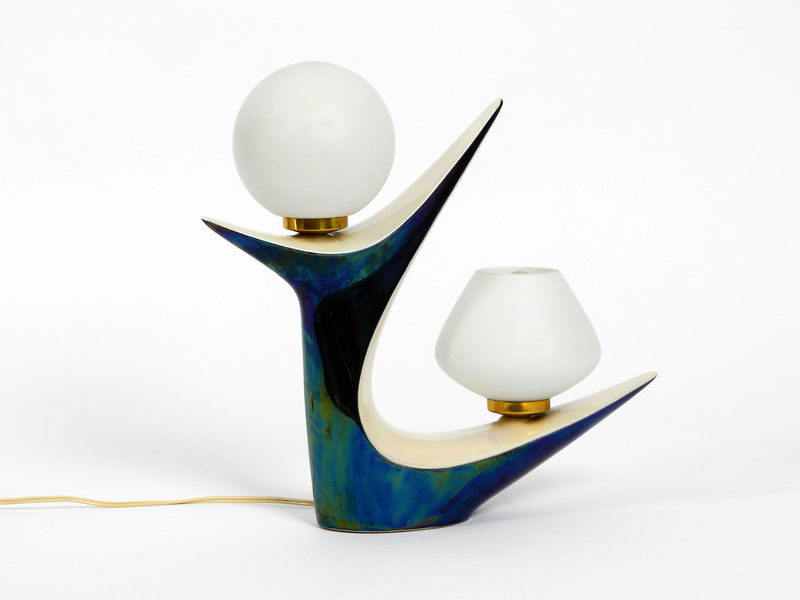 Stunning Beautiful Mid Century Ceramic Table Lamp | Iridescent Blue And White Pearly Color  | Verceram Céramique France