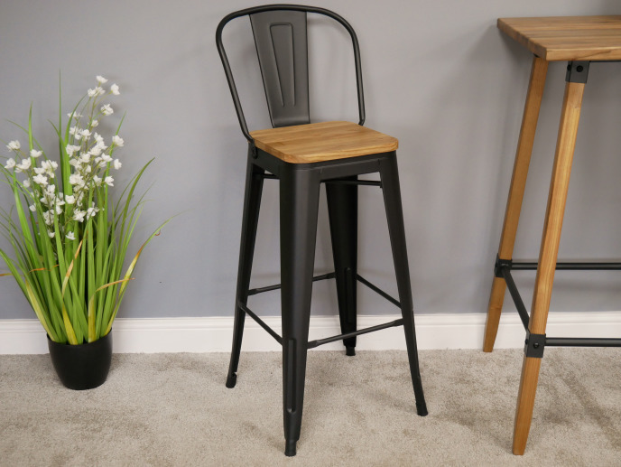 Miraculous Industrial Steel And Elm Wood Bar Chair Bar Stool Vintage Style Caraccident5 Cool Chair Designs And Ideas Caraccident5Info