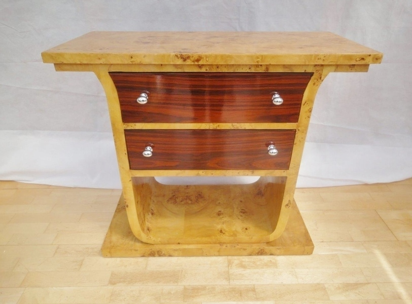 Antique Style Art Deco Rosewood / Maple Two Drawer Console Table / Chest