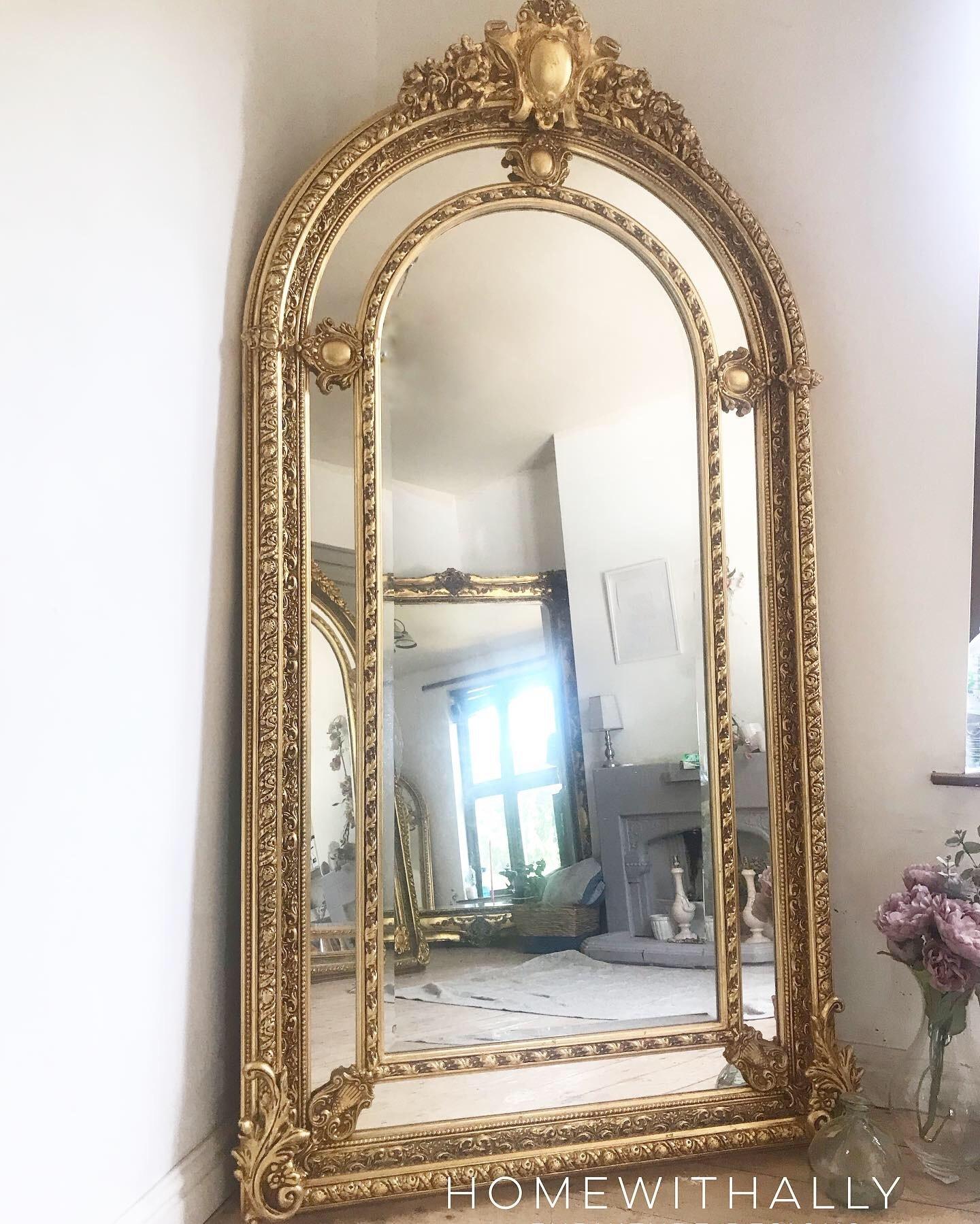 Large 7ft Freestanding Floor Mirror Gilt Arched Ornate Frame Vinterior