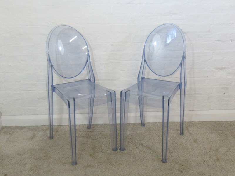 Philippe Starck Kartell Pair Of Victoria Ghost Transparent Blue Dining  Chairs