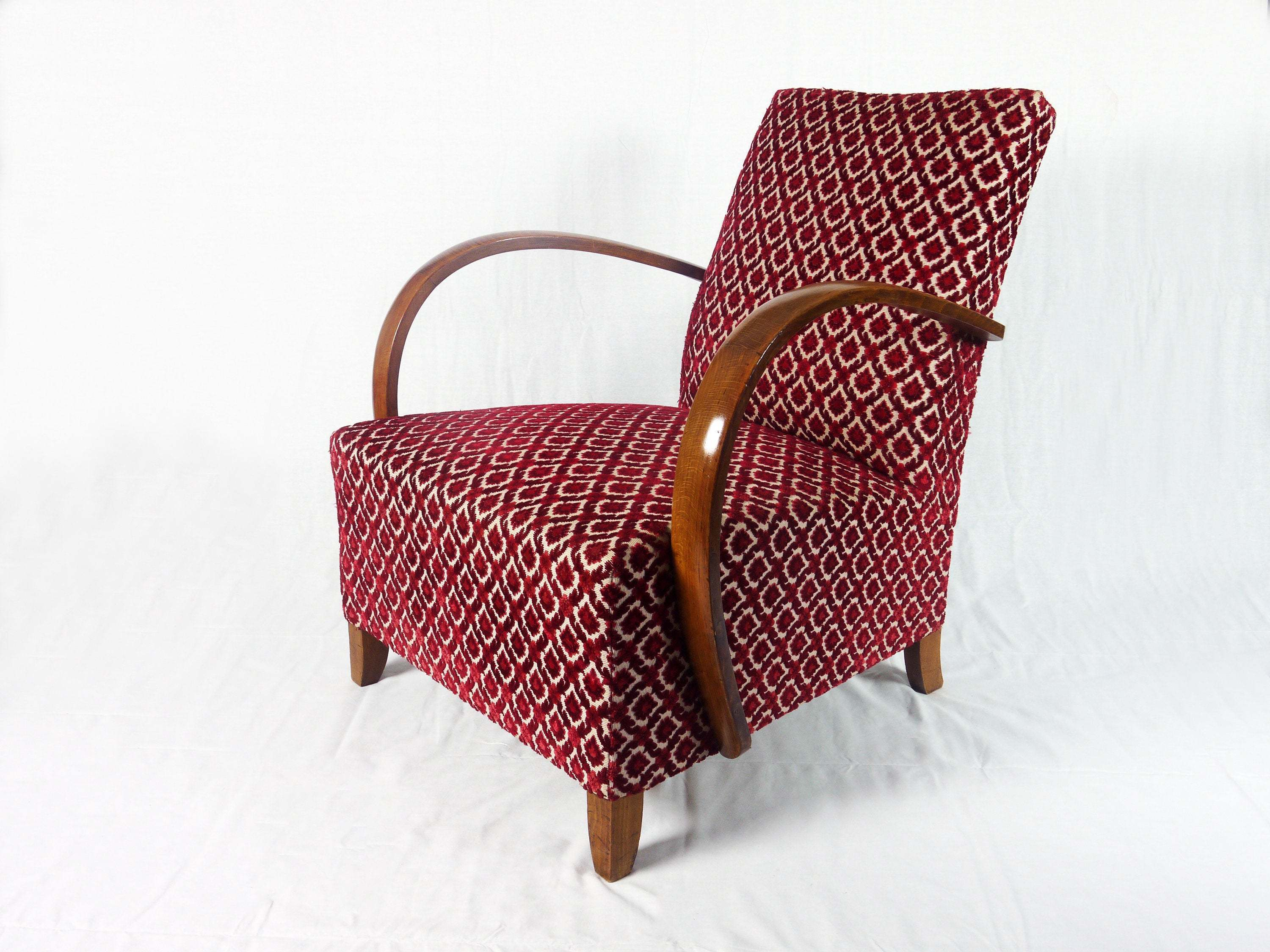 french art deco armchair with wooden arms and original flock fabric 0