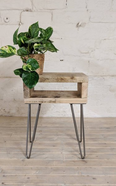 classic fit 12cc0 b0bd8 Retro Reclaimed Wood Bedside Table Noa Natural Wood Finish | Plant Stand |  Night Table | Boho Side Table Hairpin Legs