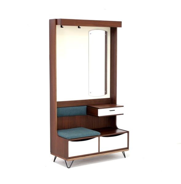 Vintage Mid Century Hall Stand / Telephone Seat On Hairpin Legs