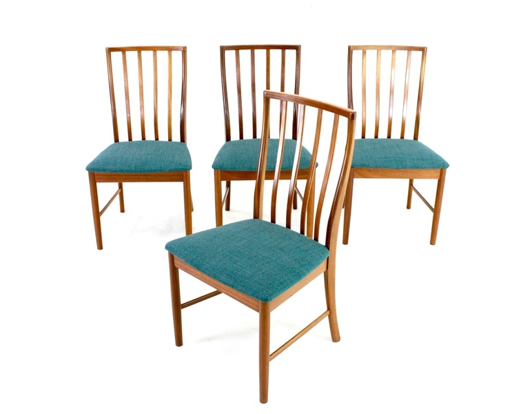 4 X Vintage Teak Danish Influence Dining Chairs ( Re Upholstered)