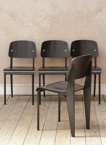 Vintage Retro Mid Century Jean Prouve Dining School Tubular Chairs X4