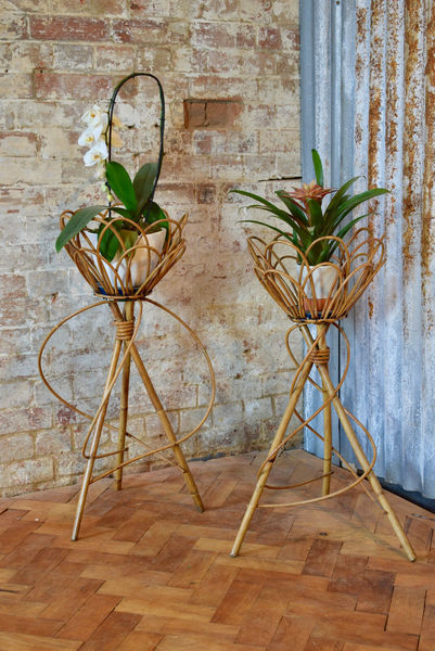 Pair Of French Vintage Indoor Rattan Wicker Planter Pot Stands