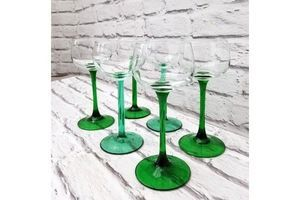 Thumb vintage green tall stem wine hock glasses set of six french mid century 0
