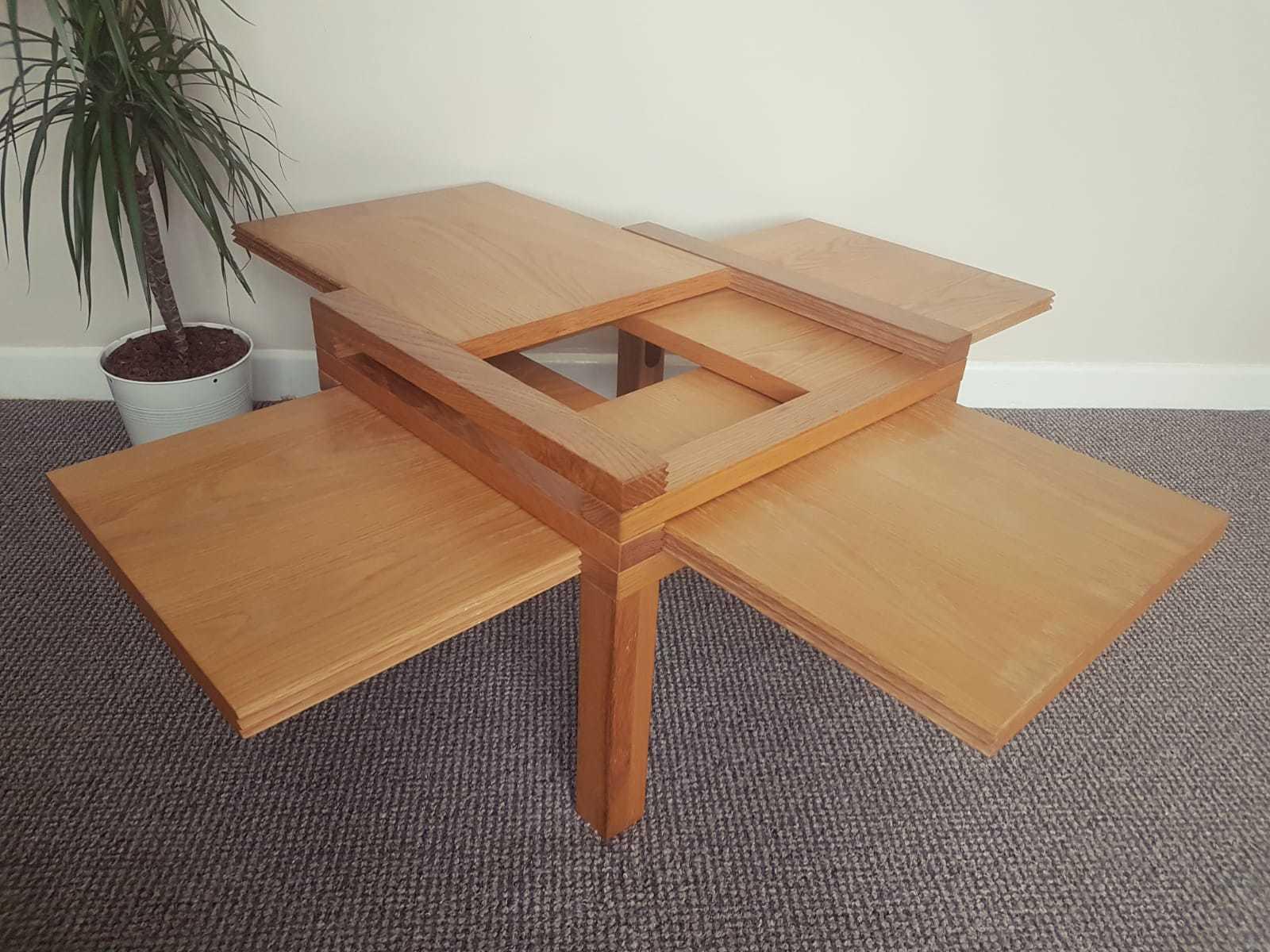 Hexa Par4 Low Oak Coffee Games Table With Removable Leaves Bernard Vuarnesson Vinterior