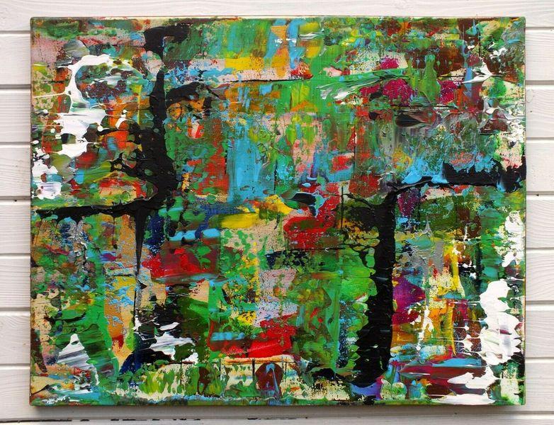 Multi Colour Abstract Painting Acrylic Canvas Original Art J Lucas