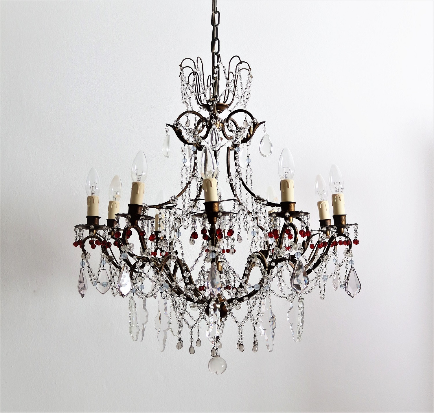 Gilded vintage chandelier with murano glass 1950s vinterior co
