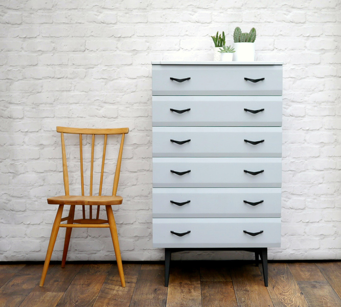 Mid Century Chest Of Drawers By Meredew Painted Grey With Yellow Interior