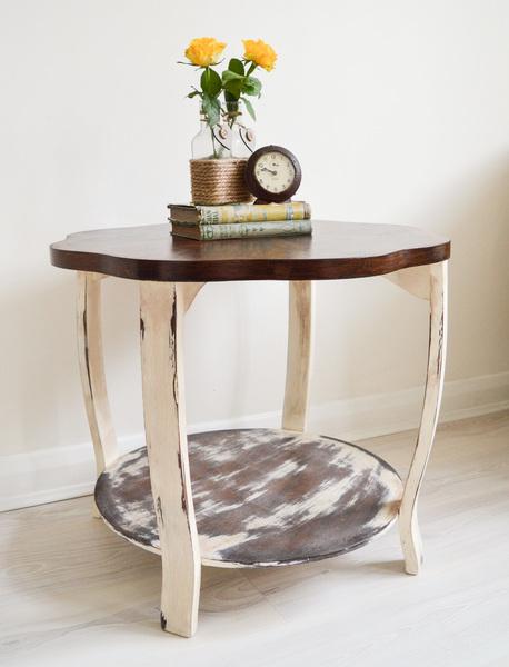 Cream Bedside Tables: Bovine Curva Side End Table, Cream & Brown, Funky, Retro