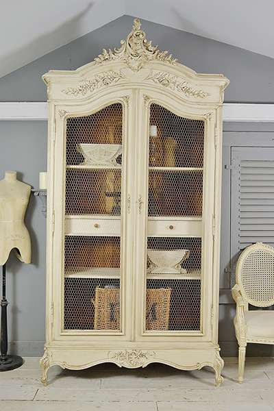 Large Antique French Louis Knock Down Chicken Wire Armoire (Beige)