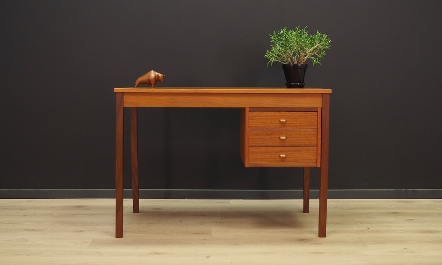 Desk Teak Vintage Danish Design Retro Vinterior