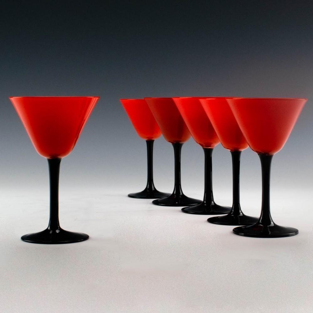 Set Of Six Harrach Tango Art Deco Cocktail Glasses C1920