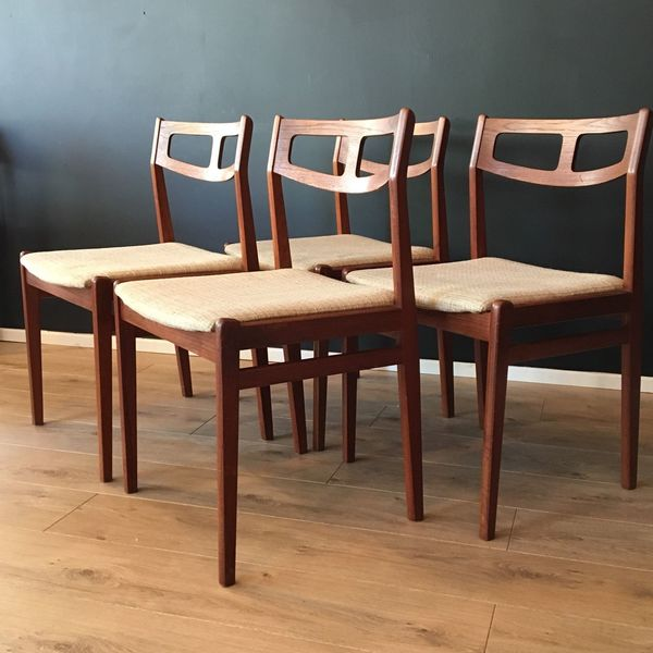 Vintage Danish Dining Chairs Johannes Andersen Style 1960's Mid Century