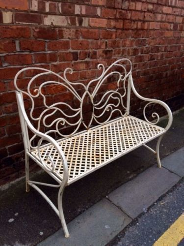 Pair Of Vintage French Style Wrought Iron Garden Bench Seat
