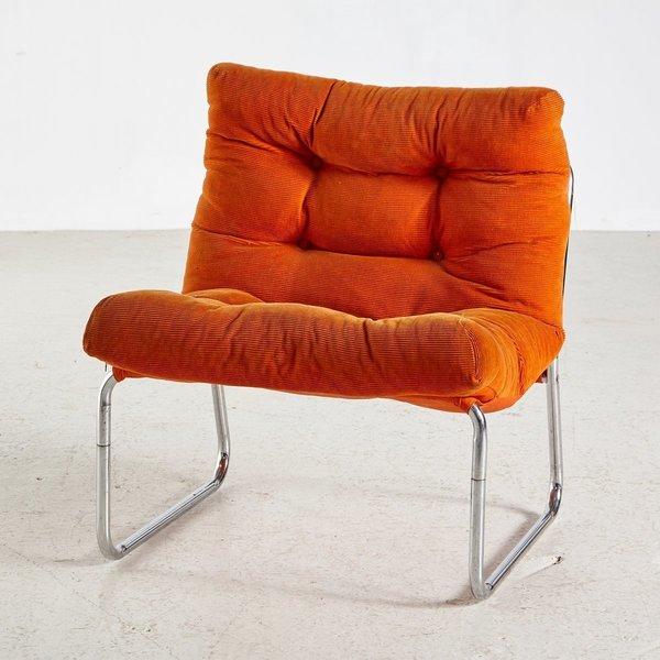 Mid Century Lounge Chair With Tubular Base, 1960s