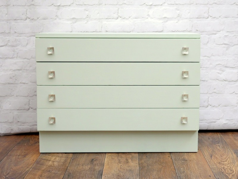 Vintage 1960's Chest Of Drawers Up Cycled And Painted Sage Green