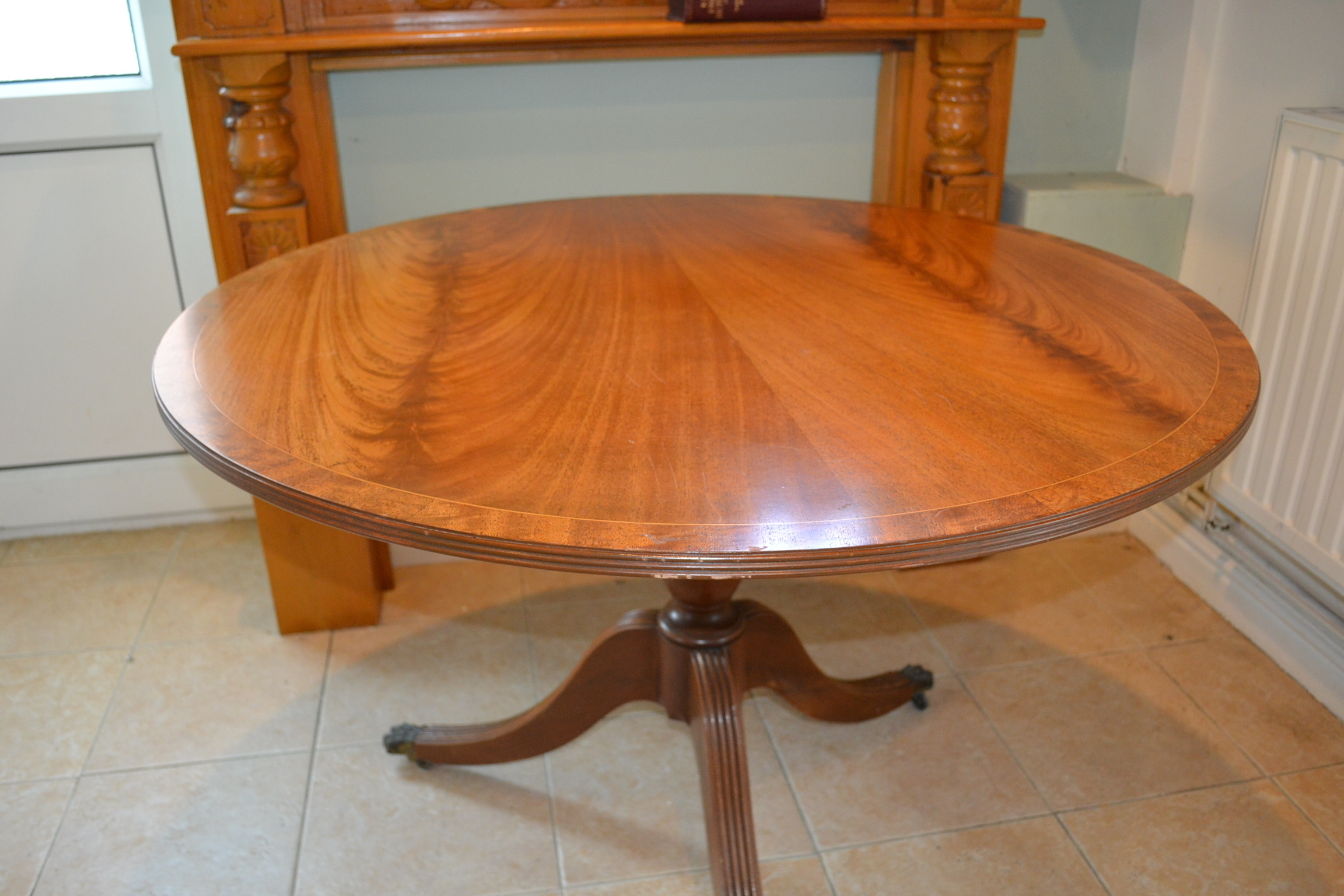 Round Table Orange.Round Tilt Top Dining Table Beautiful Wooden Tripod Table 106 Cm Wide