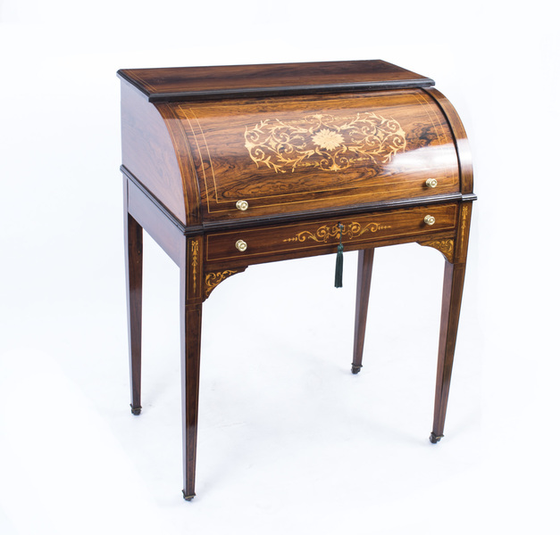 Antique Lady's Rosewood & Marquetry Cylinder Bureau C.1880