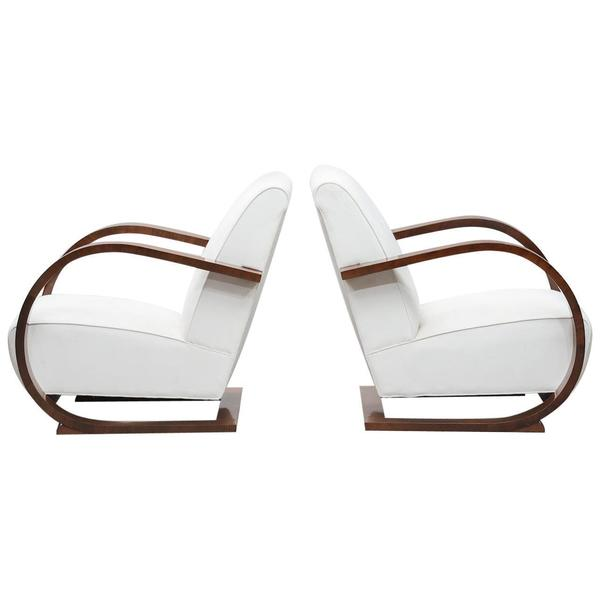 Italian Art Deco Walnut Armchairs One Pair