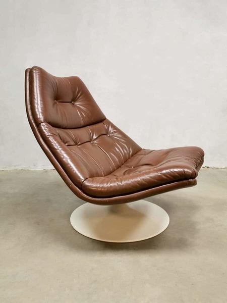 Vintage Leather Swivel Chair Armchair Artifort Geoffrey Harcourt F511