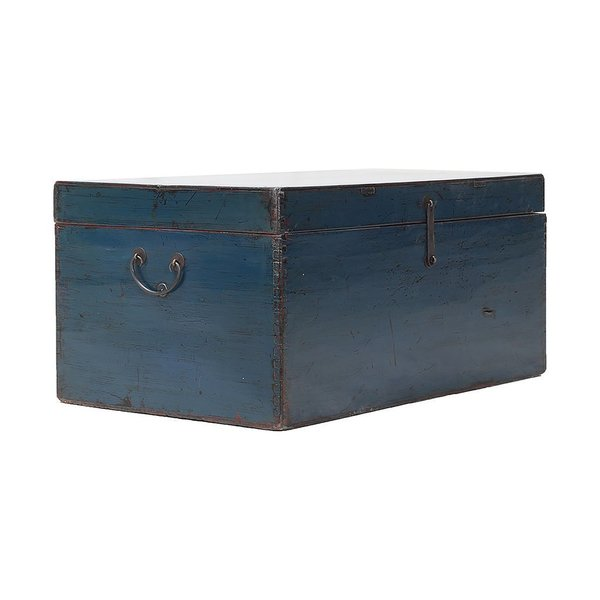 Vintage Blue Chinese Chest From Shandong photo 1