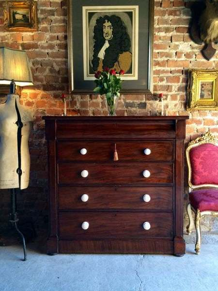 Antique Victorian Mahogany Chest Of Drawers Dresser 19th Century