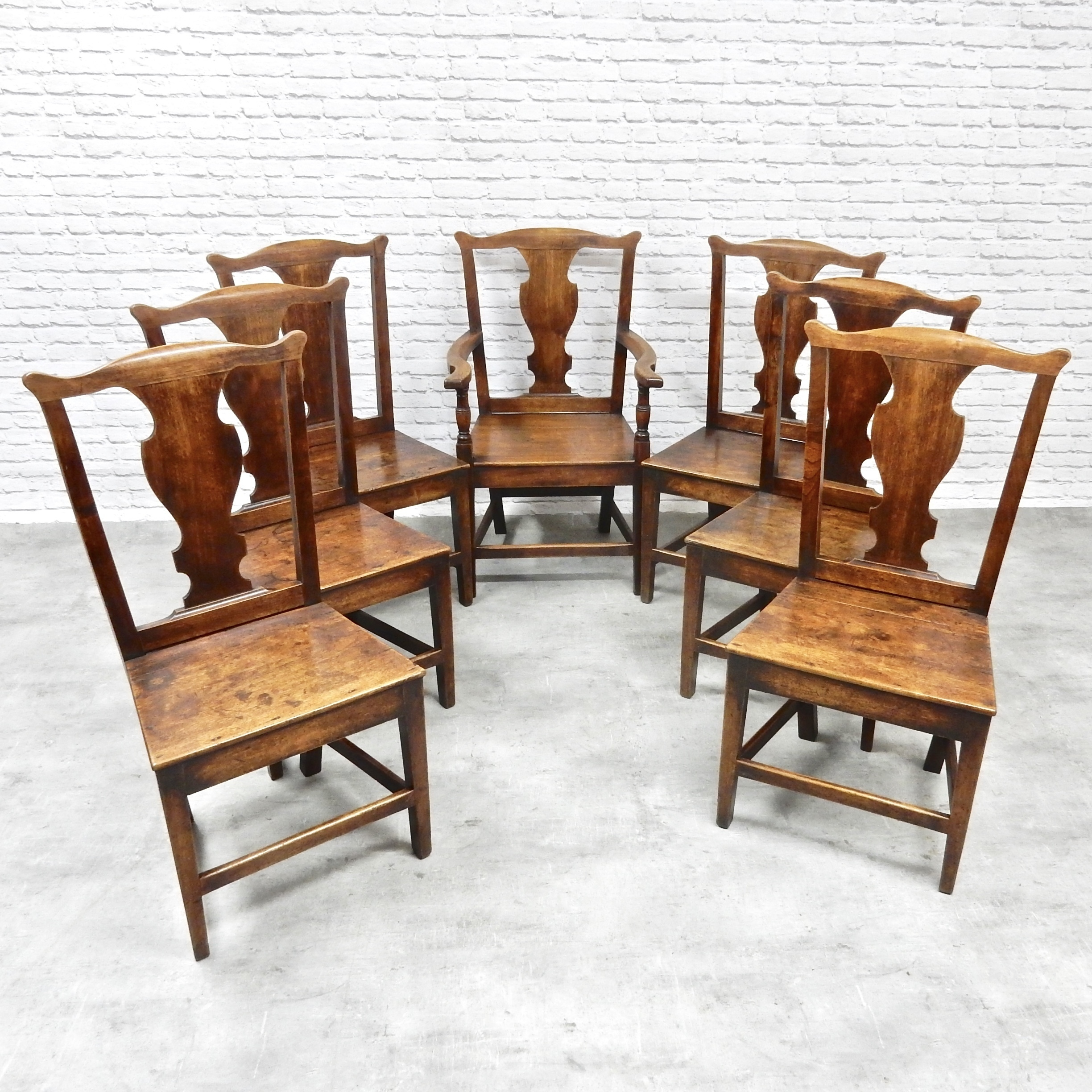 info for 65e78 222d4 Set Of 7 Antique Oak Provincial Dining Chairs