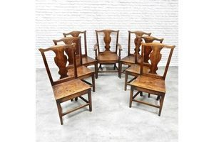 Thumb set of 7 antique oak provincial dining chairs 0
