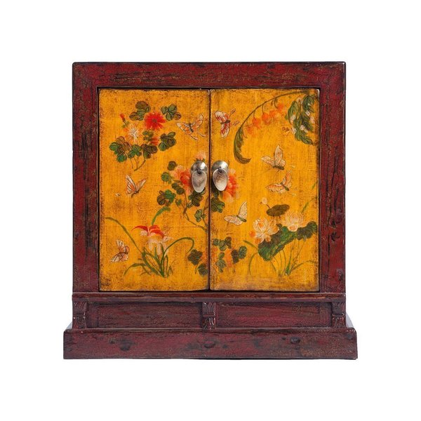 Vintage Chinese 2 Door Painted Cabinet From Shanxi photo 1