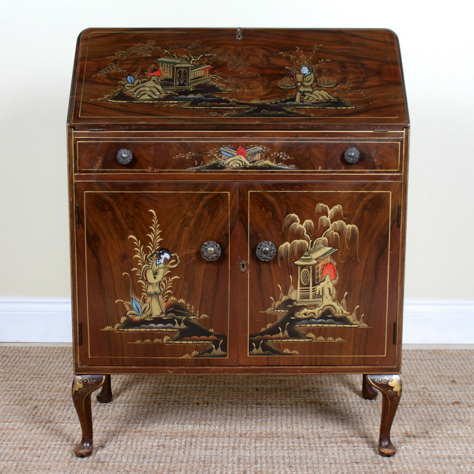 Vintage Chinese Bureau Chinoiserie Writing Desk Chest Drawers Inlaid Gilded