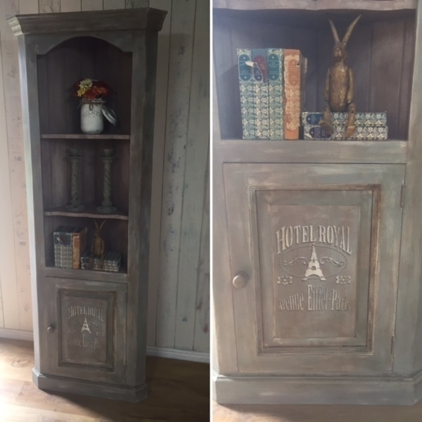 Distressed Pine Corner Unit Hand Painted
