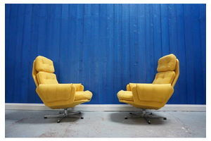Thumb 1960 s mid century modern czech swivels chairs in yellow 1 of 2 0