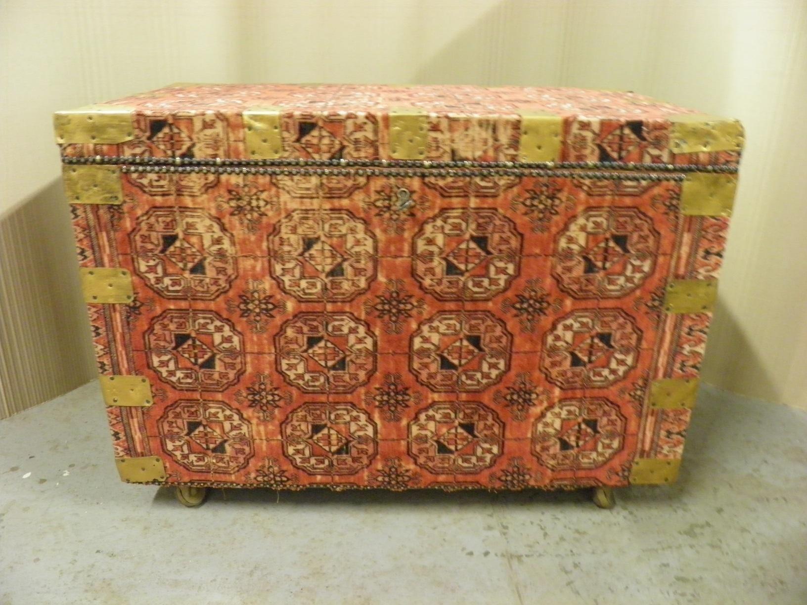 737f38da6 Antique 19th C. Decorative Pine Chest Covered In Vintage Belgian ...
