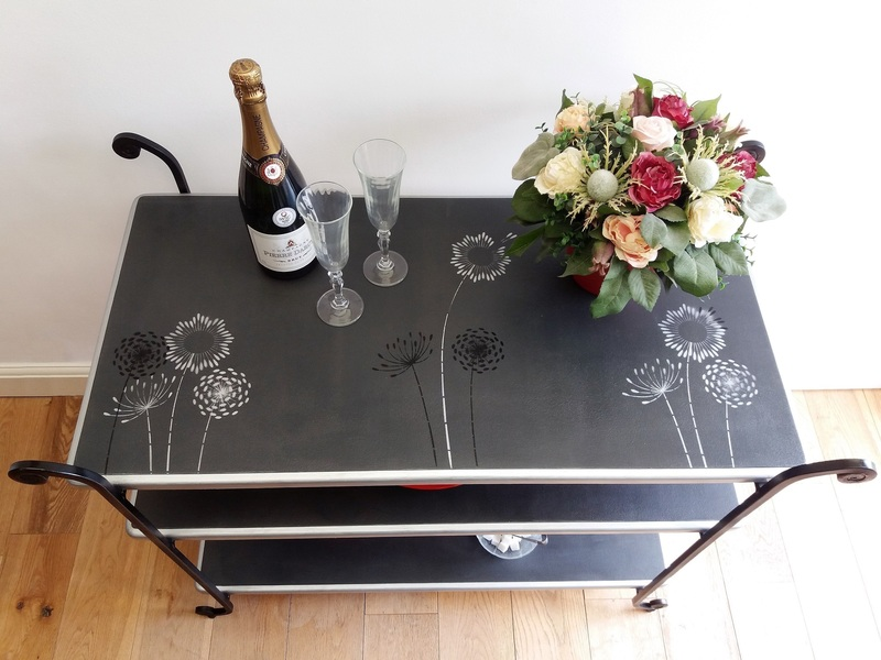 Buffet Server / Cocktail Bar / Drinks Side Table With Stencilled Top And Wrought Iron Legs