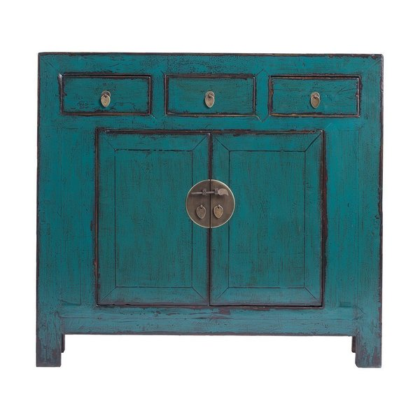 Vintage Chinese 3 Drawer 2 Door Painted Cabinet From Shandong
