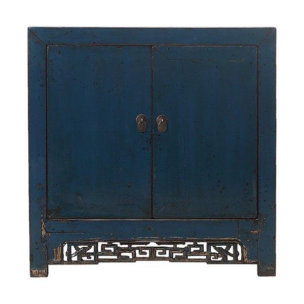 Vintage Chinese Blue 2 Door Cabinet