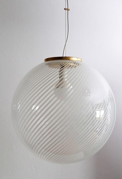 Murano Glass And Brass Globe Pendant Lamp
