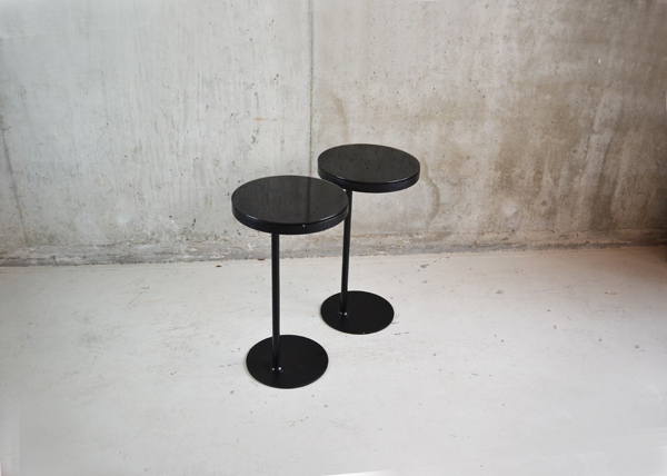 Pair Of 1970's Black Sliding Glass Topped Side Tables