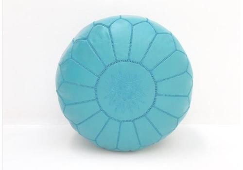Moroccan Leather Pouf Duck Egg Blue Leather Poufe