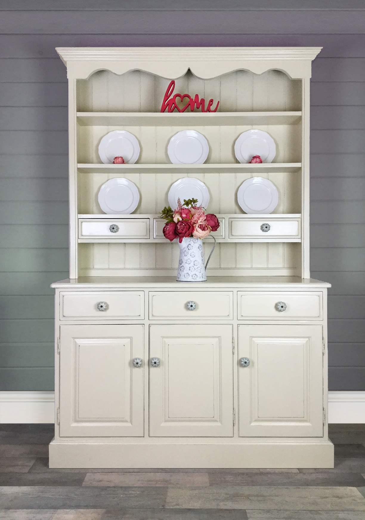 Solid Pine Cream Farmhouse Welsh Dresser Kitchen Cupboard Dining Room Cabinet Painted Upcycled Furniture Vinterior