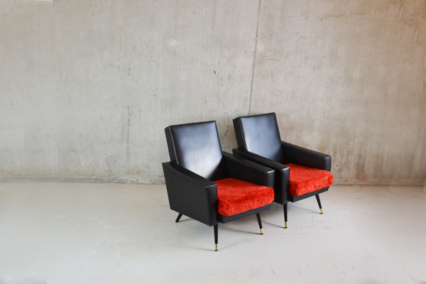 Pair 1970's French Black Vinyl Armchairs With Red Cushions