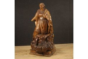 Thumb antique german wooden sculpture depicting saint on a cloud from 18th century 0